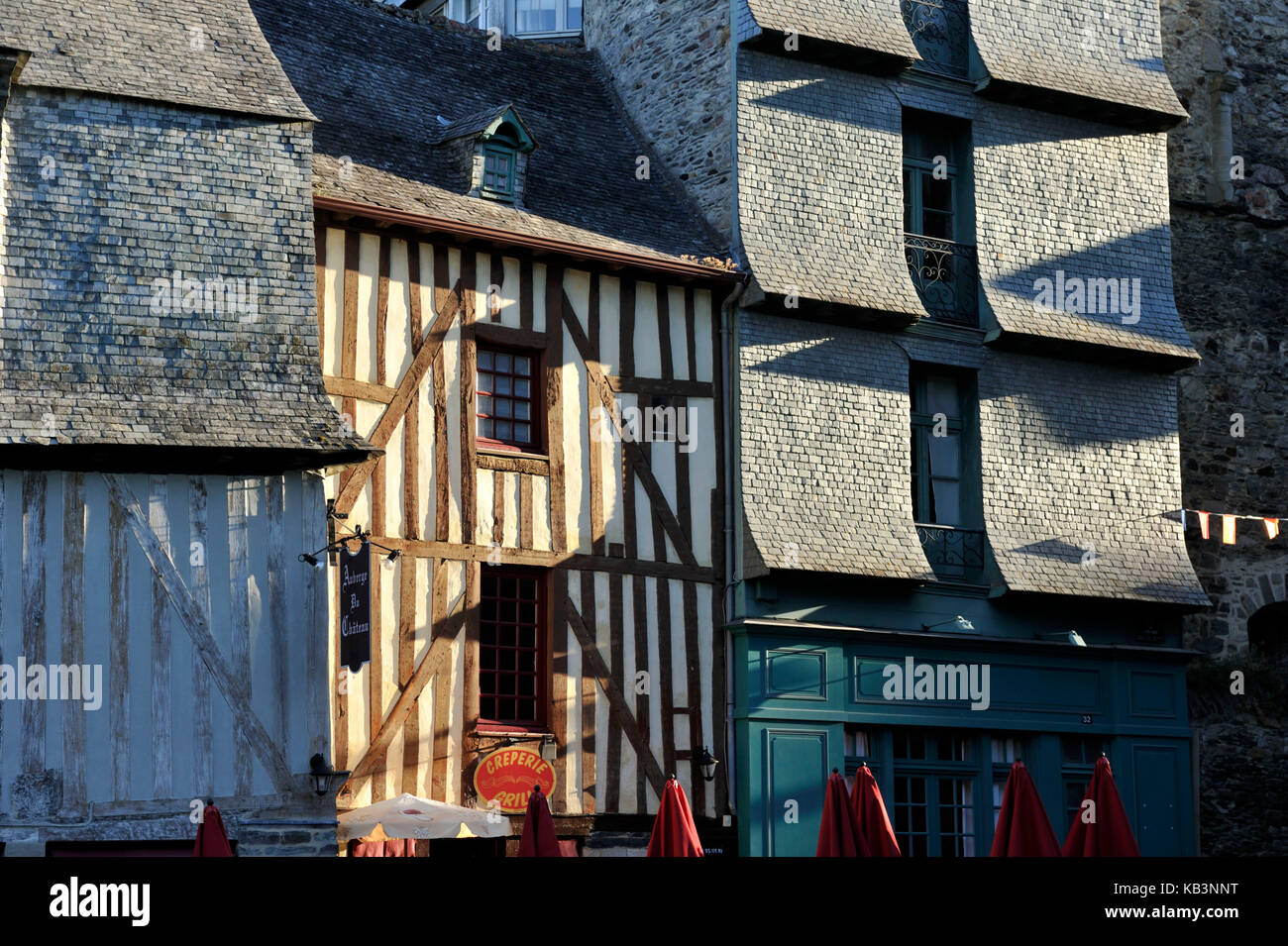 France, Ille-et-Vilaine, Vitré, stop on the Way of St James, the old town, Embas street - Stock Image