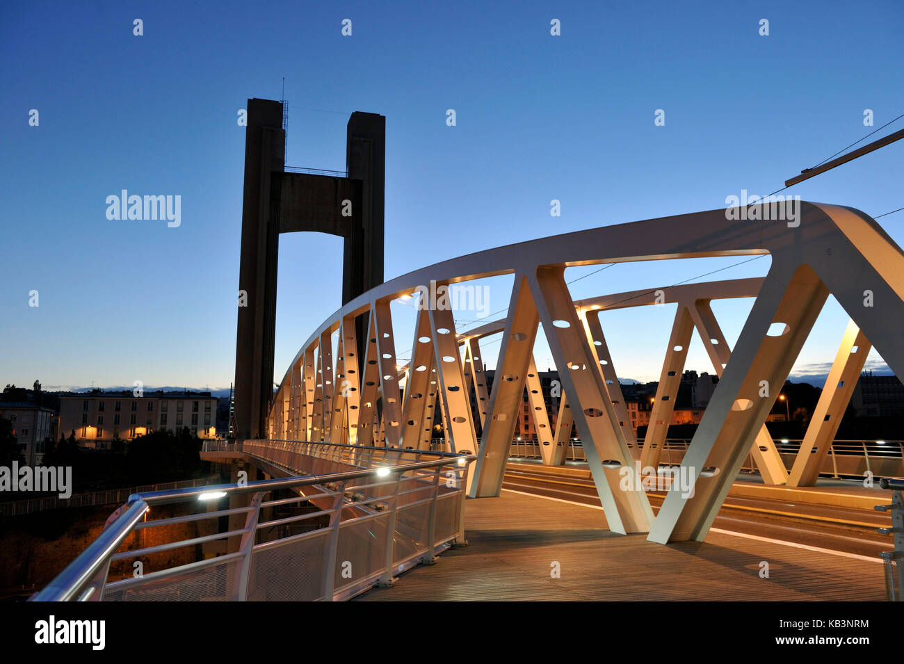 France, Finistere, Brest, Recouvrance Bridge is a raising bridge which crosses Penfeld - Stock Image