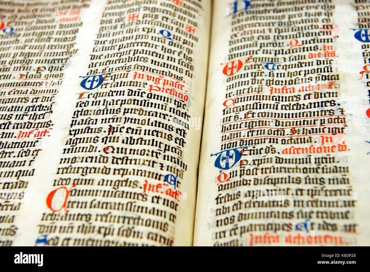 France, Bas Rhin, Selestat, humanistic library, Missale Argentinense from the 15th century, Missal from the diocese - Stock Image