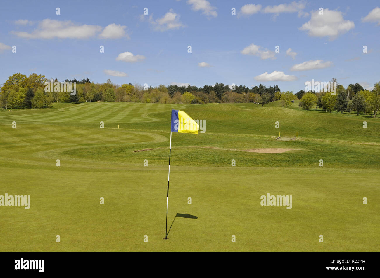 View over 9th Green with Flag to the Fairway Birchwood Park Golf Club, Kent, England - Stock Image