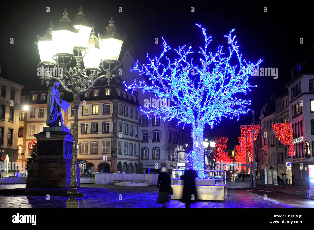 France, Bas Rhin, Strasbourg, old town listed as World Heritage by UNESCO, the blue tree of the tradesmen of Strasbourg - Stock Image