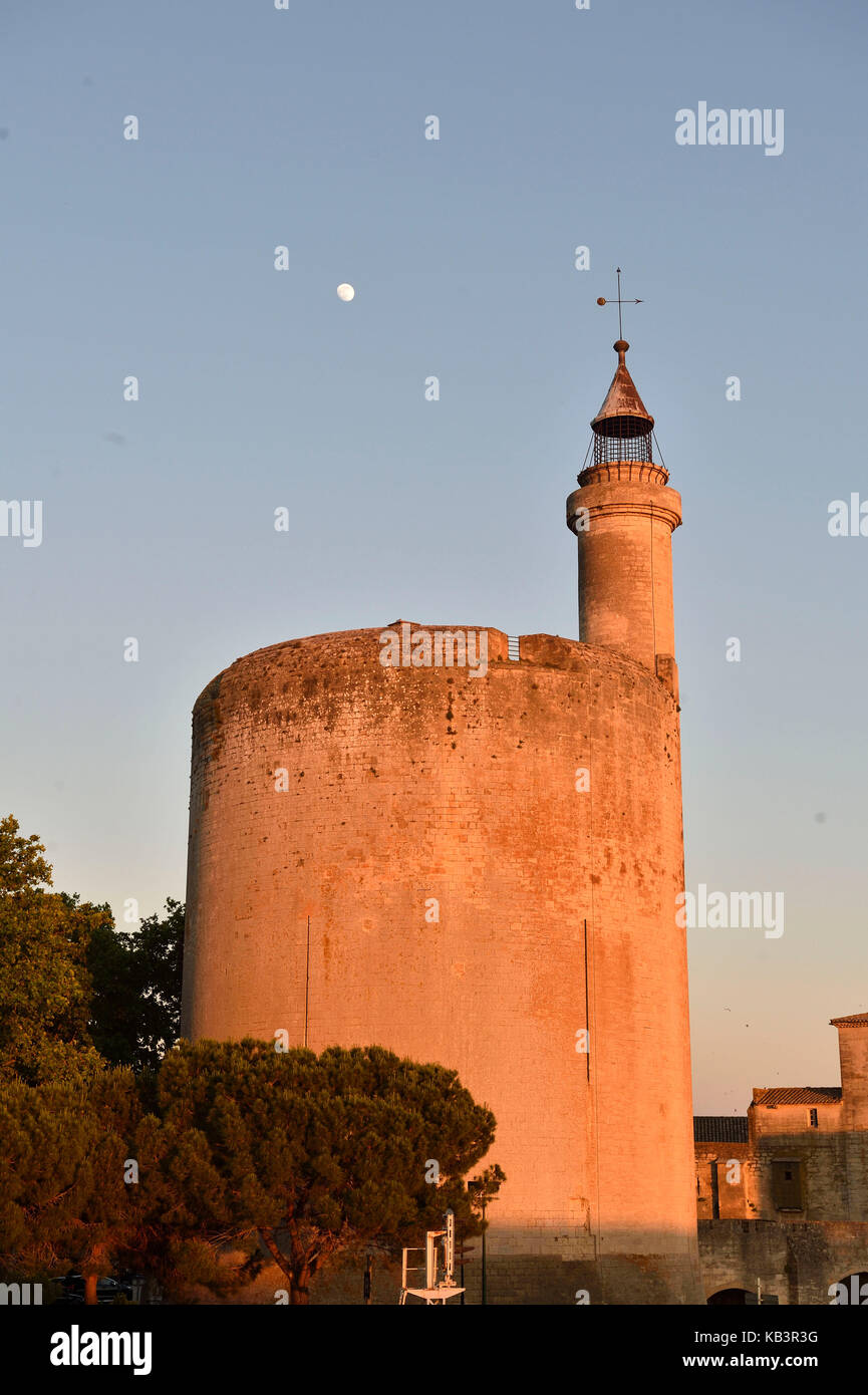 France, Gard, Aigues-Mortes, medieval city, ramparts and fortifications surrounded the city, the Constance tower - Stock Image