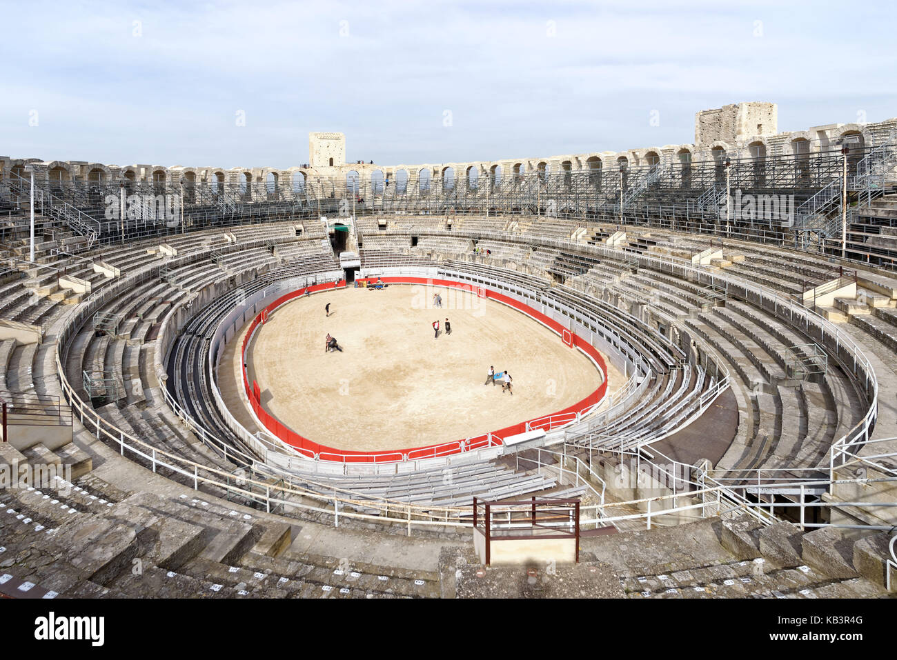 France, Bouches du Rhone, Arles, the Arenas, Roman Amphitheatre of 80-90 AD, listed as World Heritage by UNESCO - Stock Image