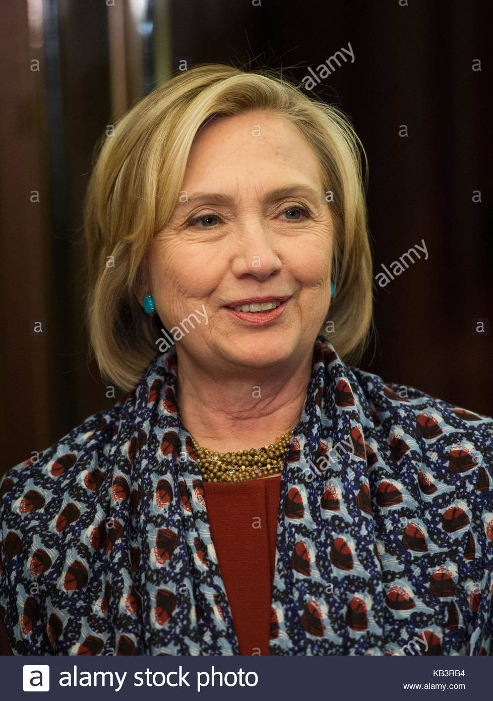 File photo dated 8/12/2014 of failed US presidential candidate Hillary Clinton who has expressed concern over the - Stock Image