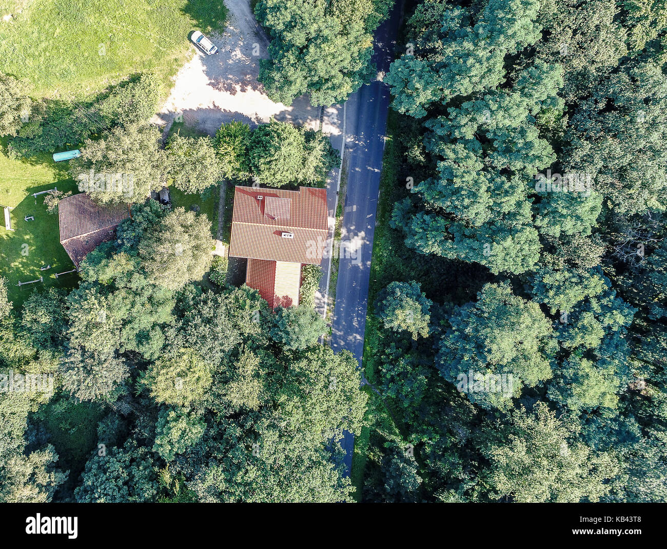 Aerial photo with the drone, anew build-up plot with single house and gardens - Stock Image