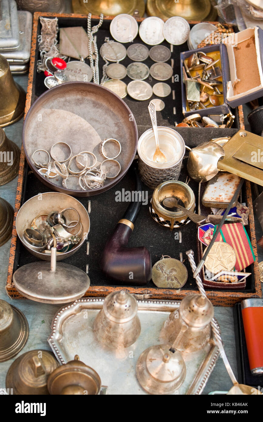 Lviv, Ukraine - July 16, 2015: Various old things for sale on a flea market in Lviv, Ukraine. Stock Photo