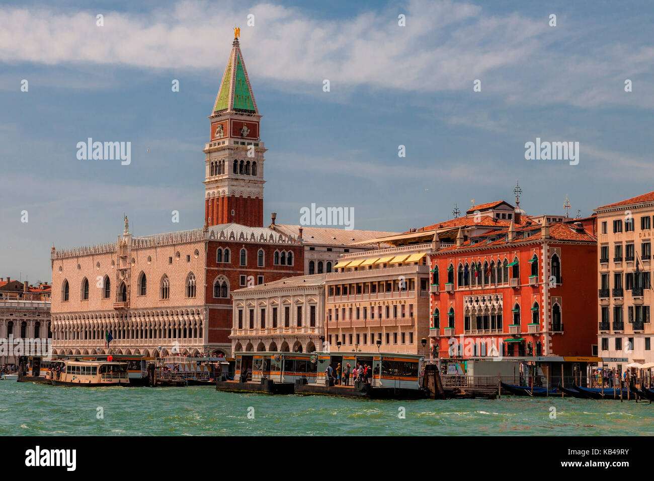Venice, Italy's Doges Palace and the Campanile - Stock Image