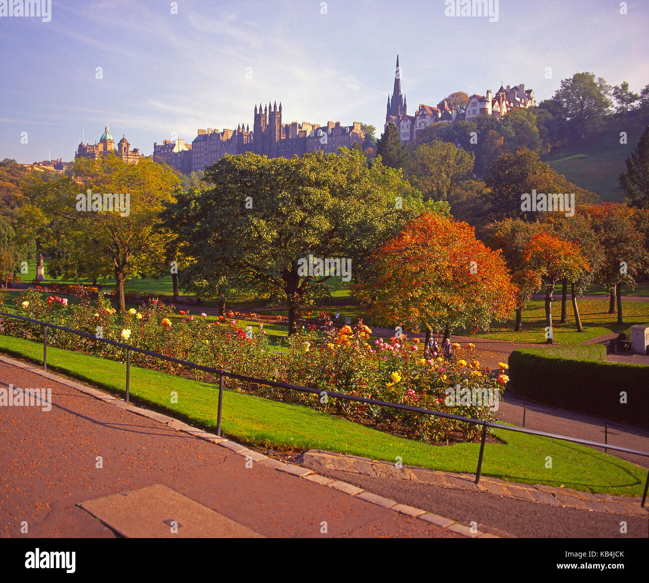 Autumn view from Princes Street Gardens towards the mound and Old
