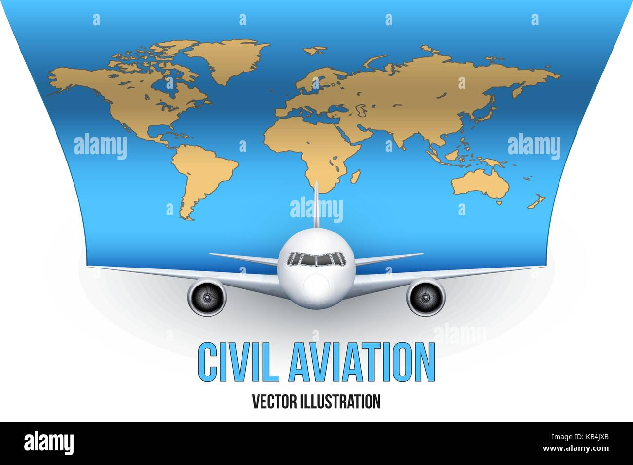 Civil Aircraft with world map - Stock Image