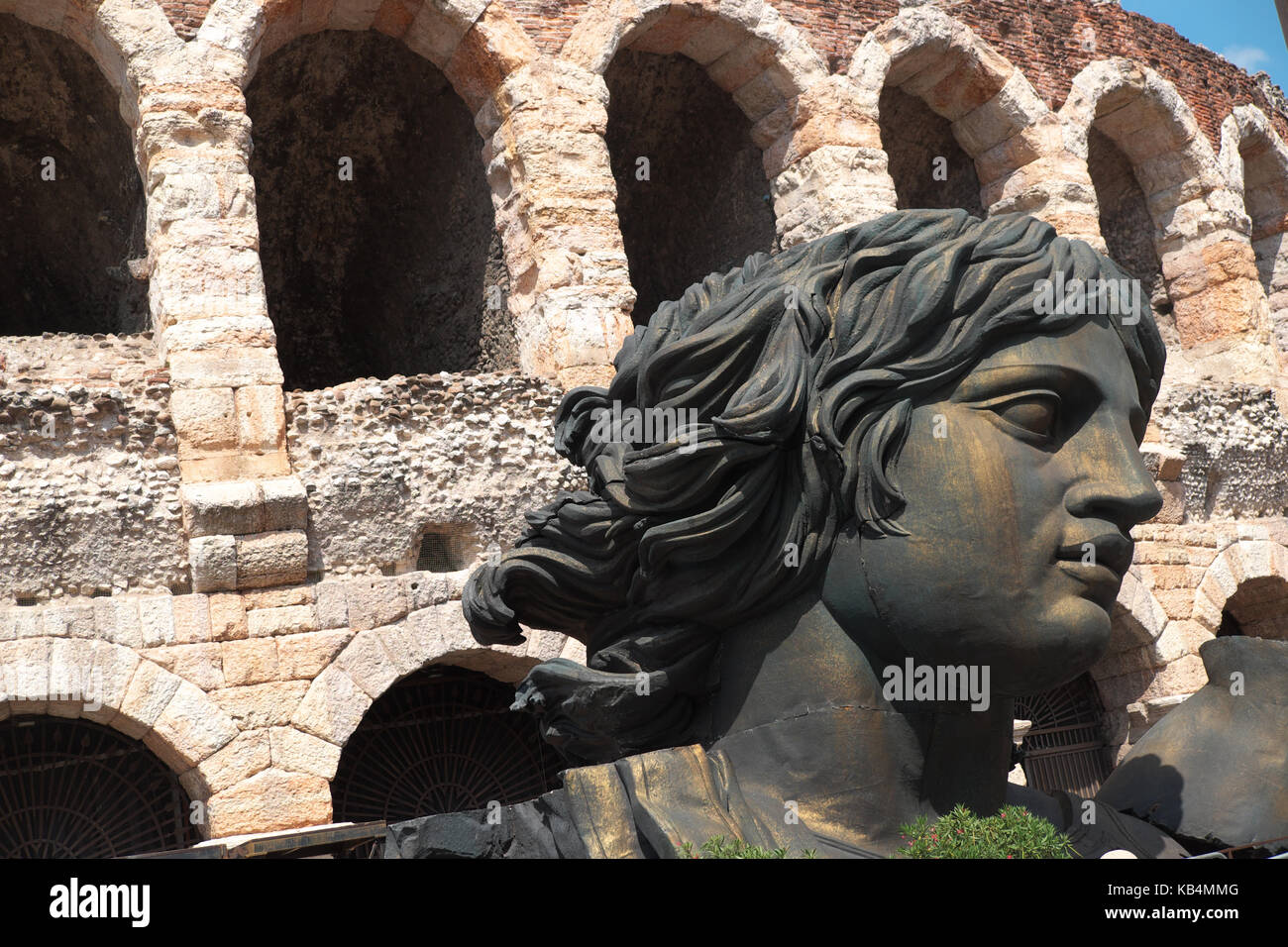 Verona, Italy - large opera props outside the ancient Roman Arena - Stock Image