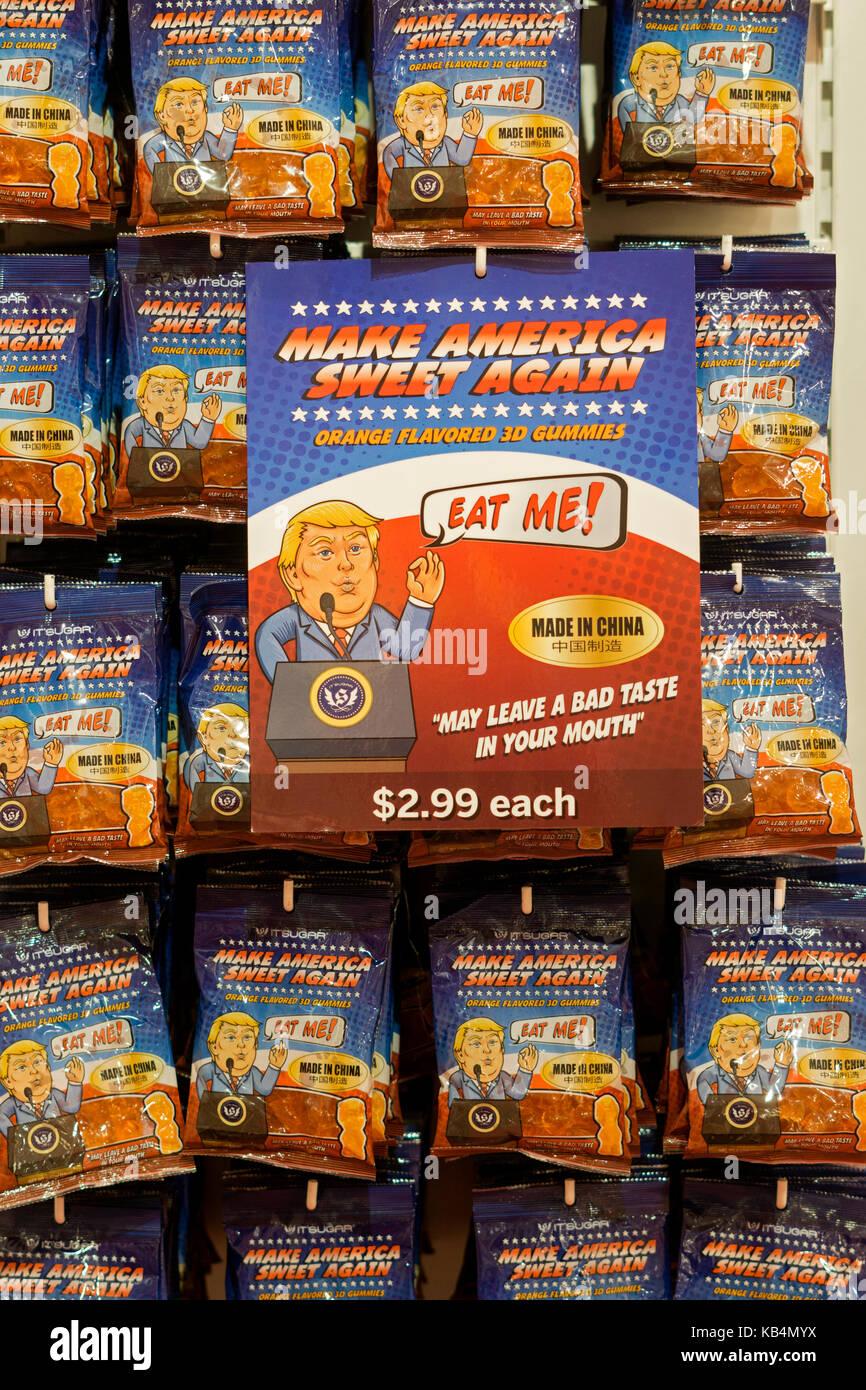 Orange flavor gummy bears mocking Donald Trump for sale at Itsugar on Broadway in Greenwich Village, New York City. - Stock Image
