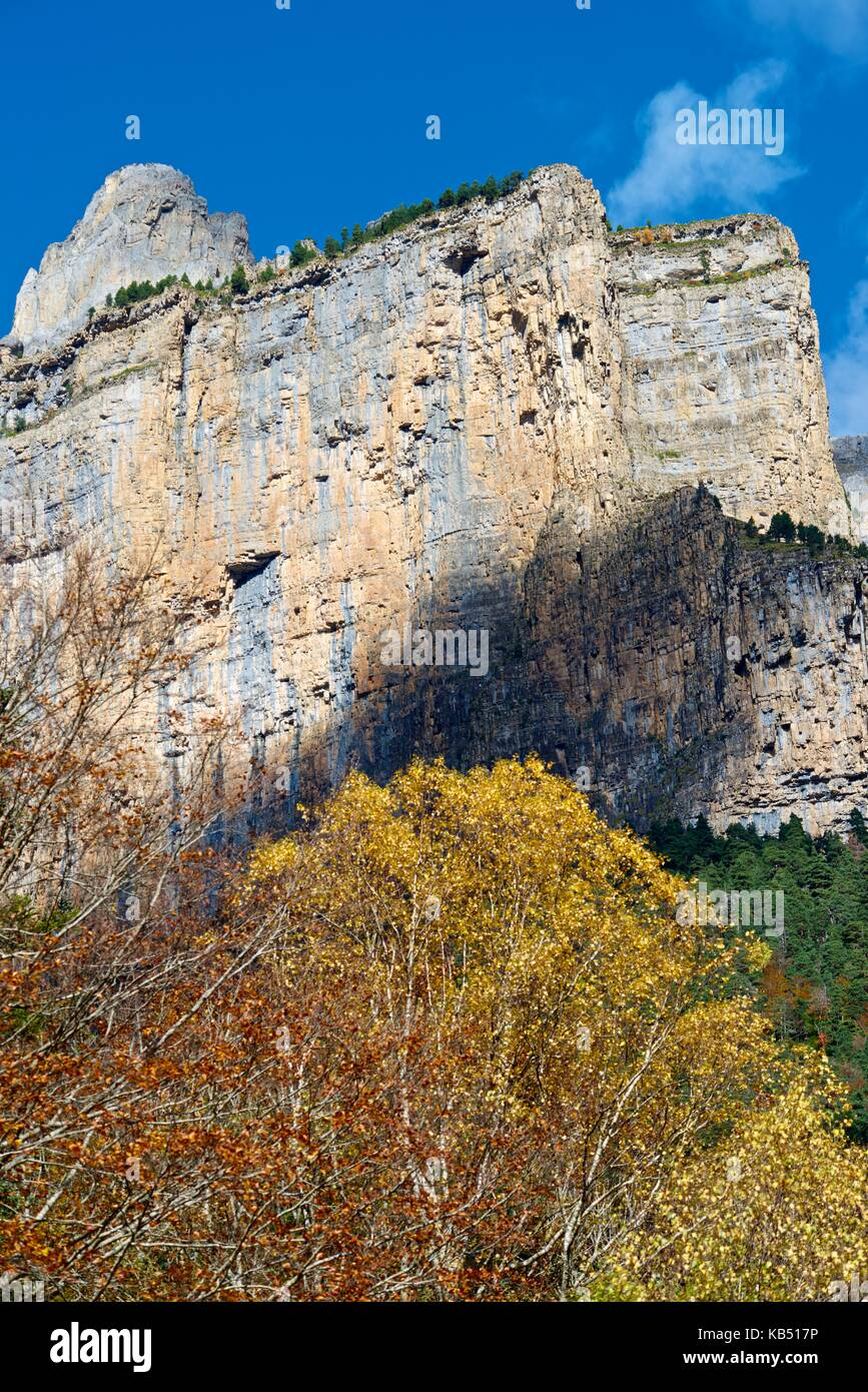 Libro Abierto Wall in the Pyrenees, Ordesa Valley National Park, Aragon, Huesca, Spain. Stock Photo