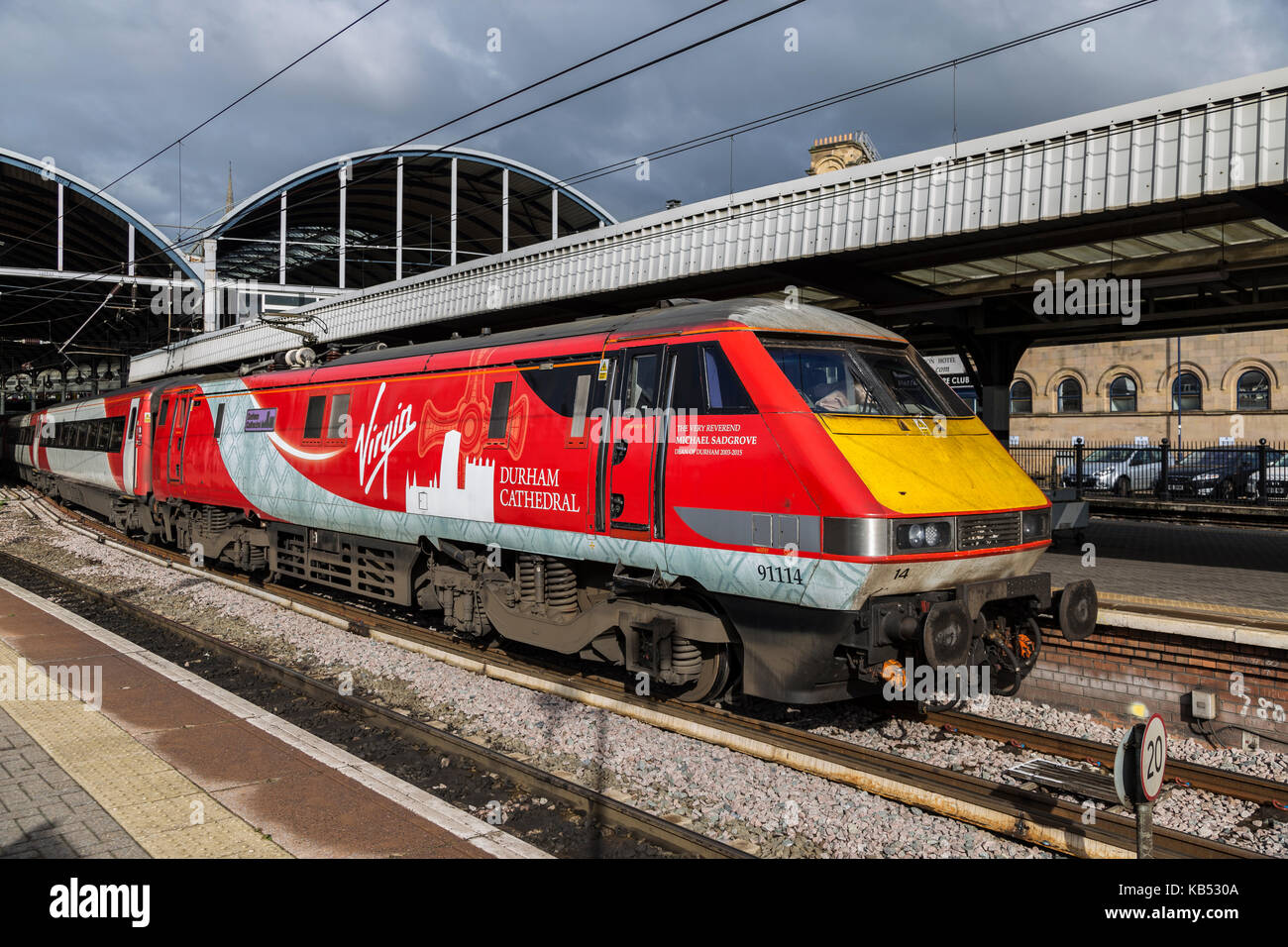 Class 91 Electric Locomotive About to Depart Newcastle Central Station for Scotland - Stock Image