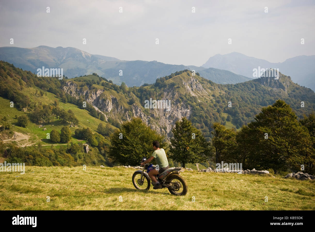 Farmer and cattle breeder, Taleggio valley, Lombardy, Italy - Stock Image