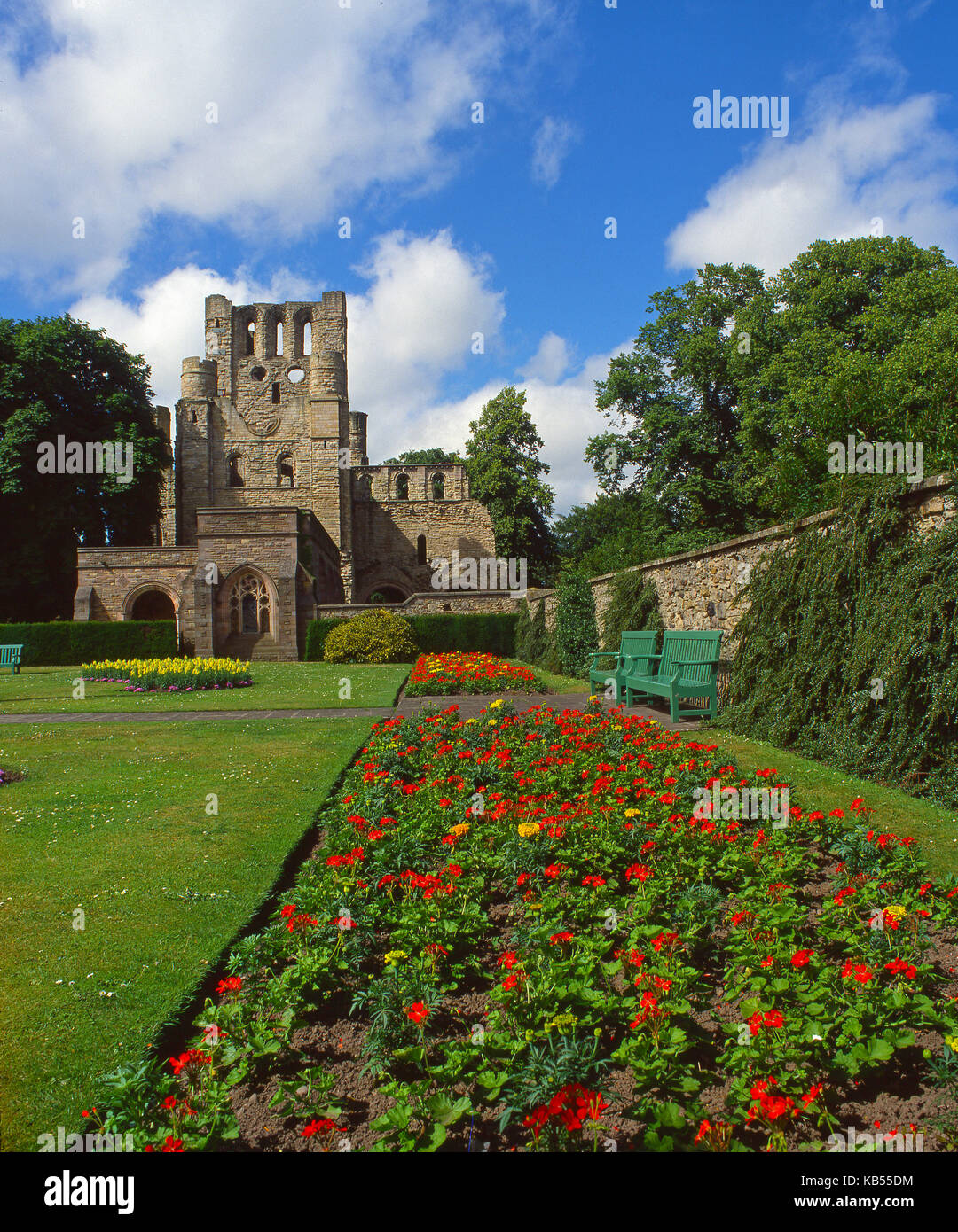 The ruins of Kelso Abbey viewed from the Abbey garden, Kelso, Roxburghshire