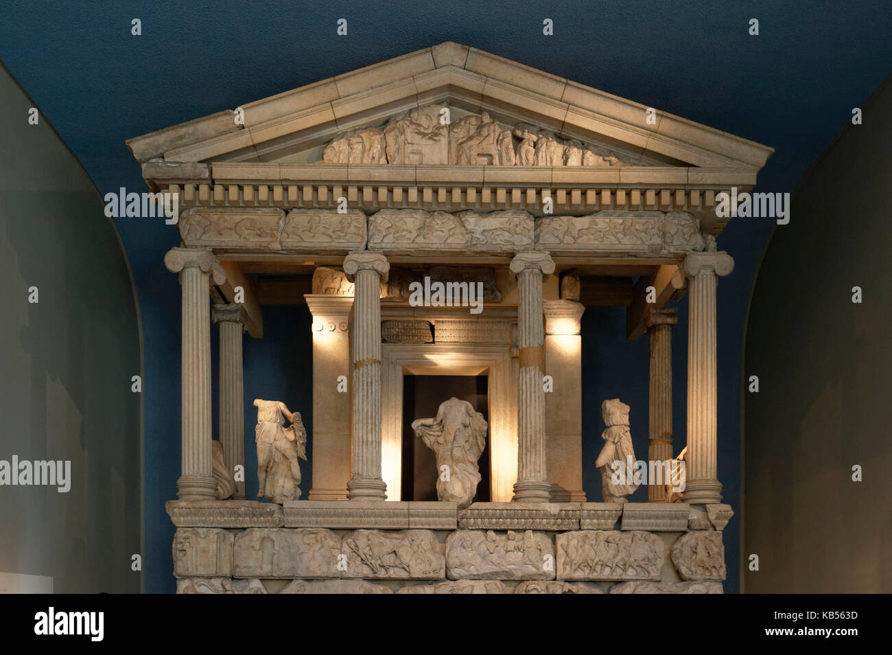 United Kingdom, London, Bloomsbury, British Museum, The Nereid Monument from Xanthos in South West Turkey, 5th century - Stock Image