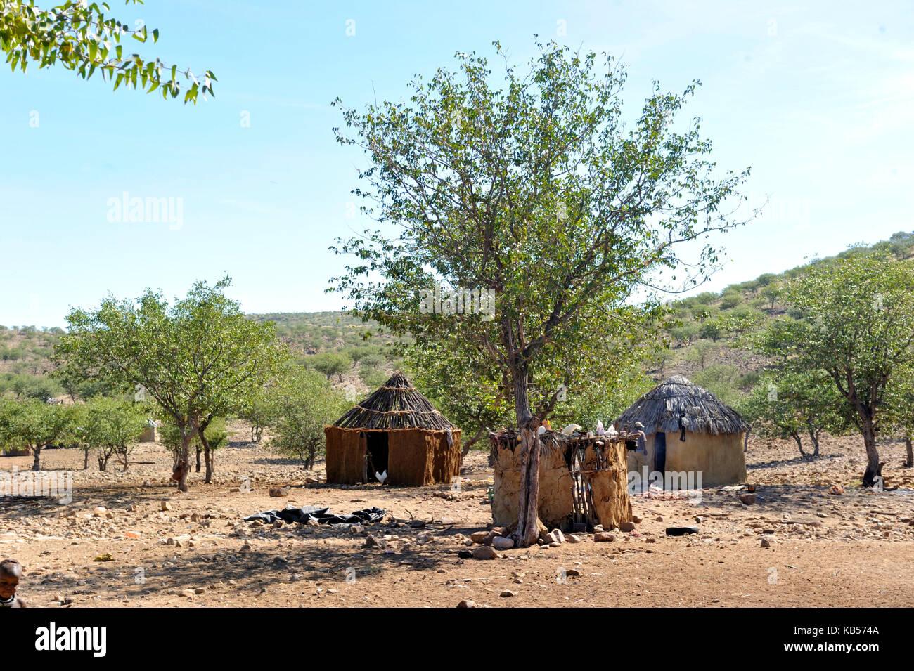 Namibia, Kaokoland or Kaokoveld, Himba village - Stock Image