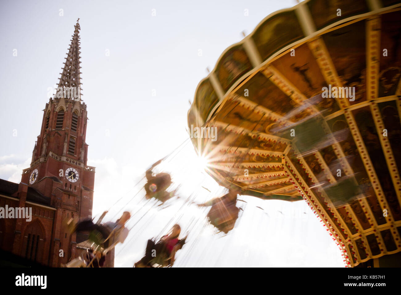 fun rides on the Auer Dult, Au, Munich, Bavaria, Germany Stock Photo