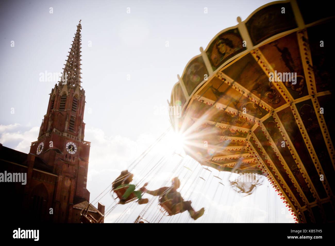 fun rides on the Auer Dult, Au, Munich, Bavaria, Germany - Stock Image