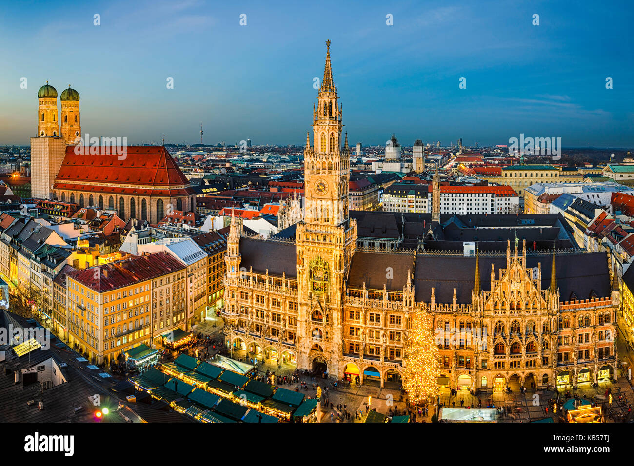 Night view of Marienplatz with the Christmas market in Munich, Germany Stock Photo