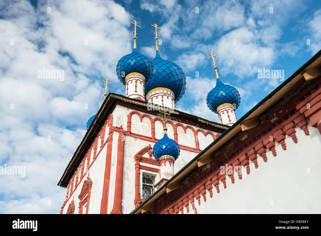 Russia, Uglich, orthodox, church, blue, dome, cupola, close view, Khram ikony Bozhiyey Materi Korsunskaya - Stock Image
