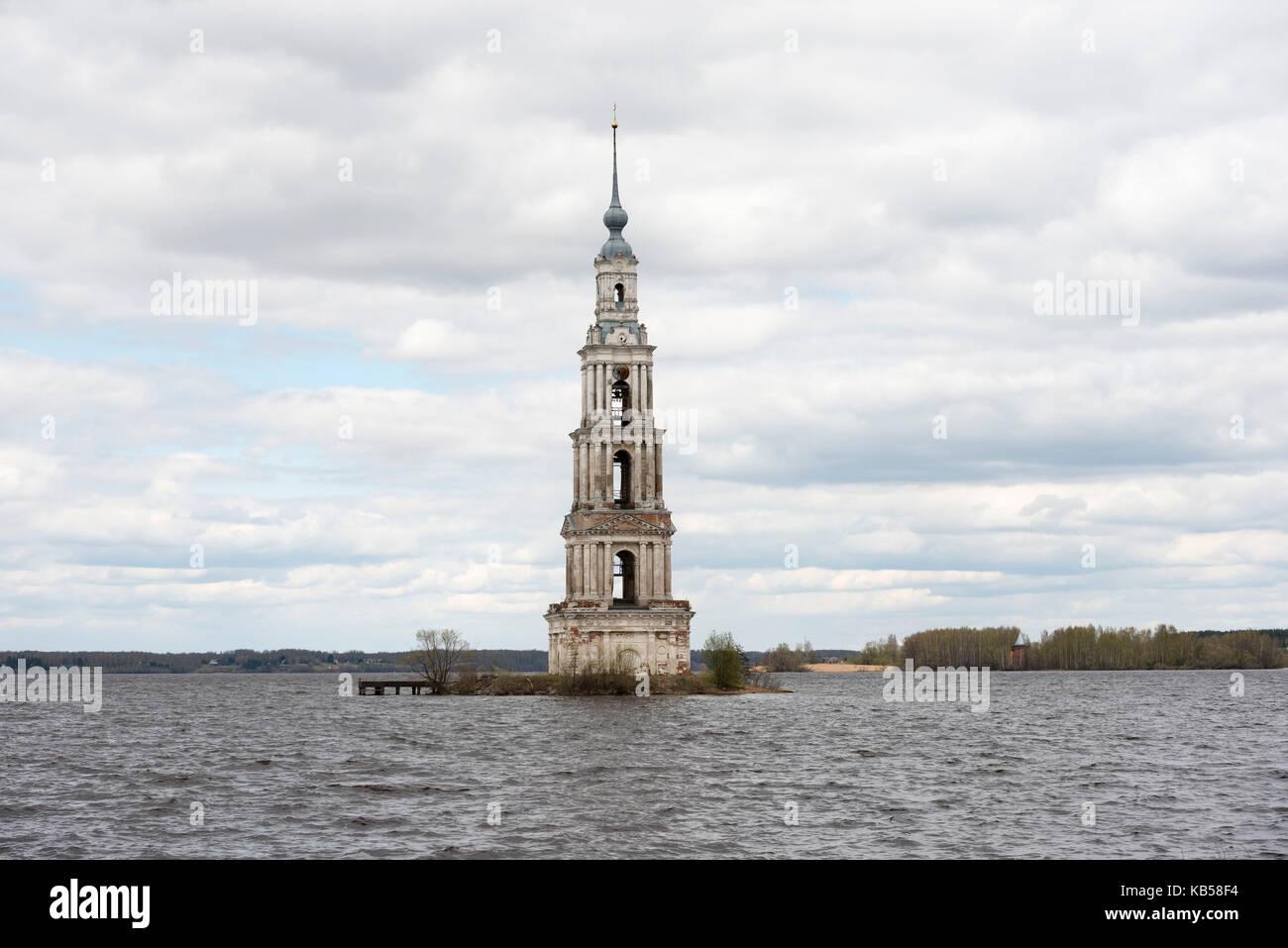 Russia, Kalyazin, Bell Tower, belfry, submerge, historic, water - Stock Image