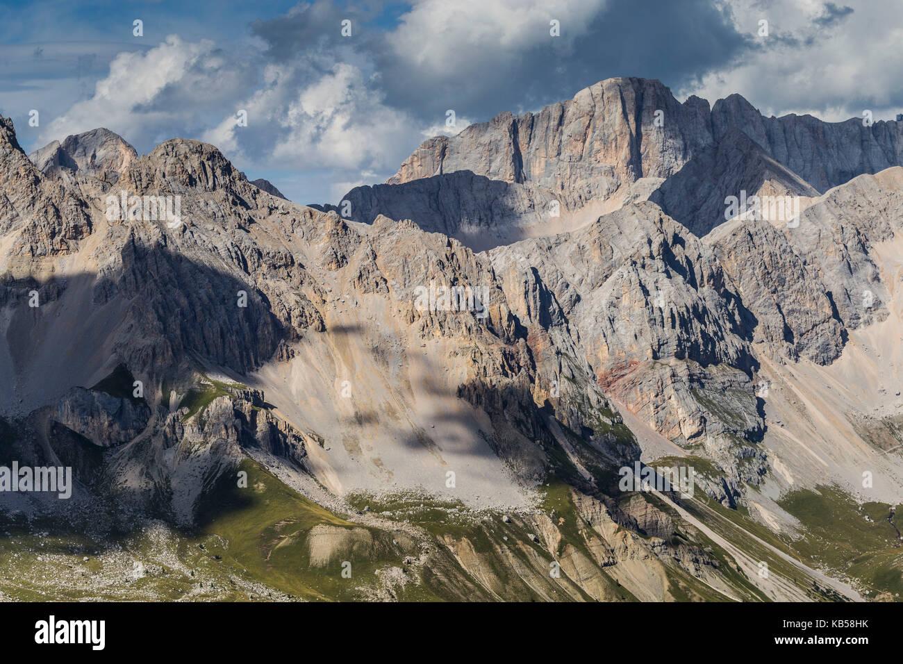 Europe, Italy, Alps, Dolomites, Mountains,  Trentino / Veneto, Marmolada, Col Margherita Park Stock Photo