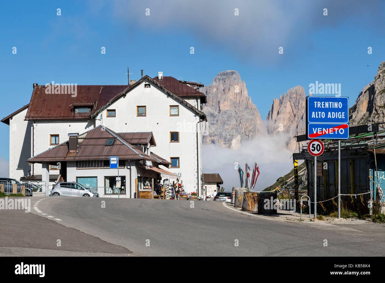 Europe, Italy, Alps, Dolomites, Mountains, Pordoi Pass - Stock Image