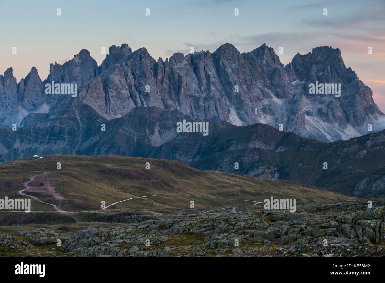 Europe, Italy, Alps, Dolomites, Mountains, Pale di San Martino, View from Col Margherita Park Stock Photo