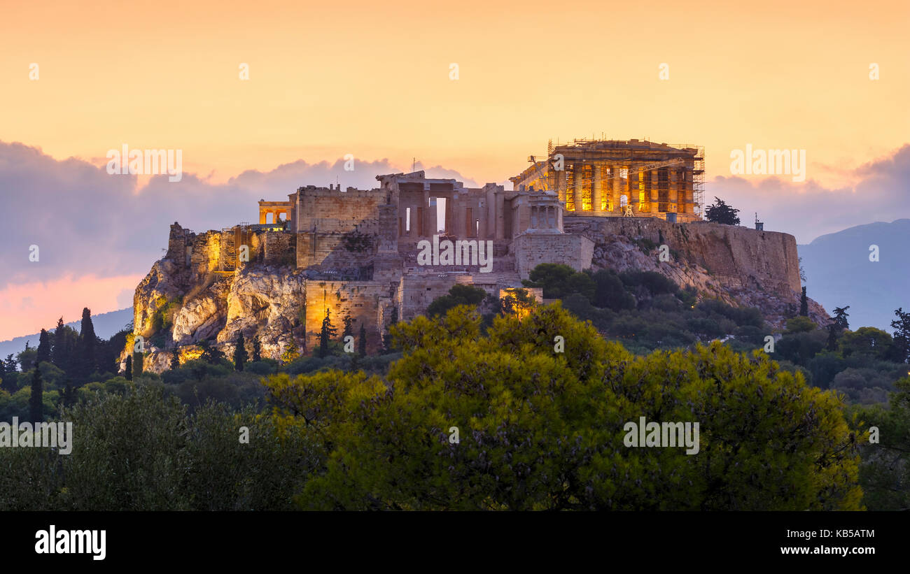 Morning view of Acropolis from Pnyx in Athens, Greece. Stock Photo