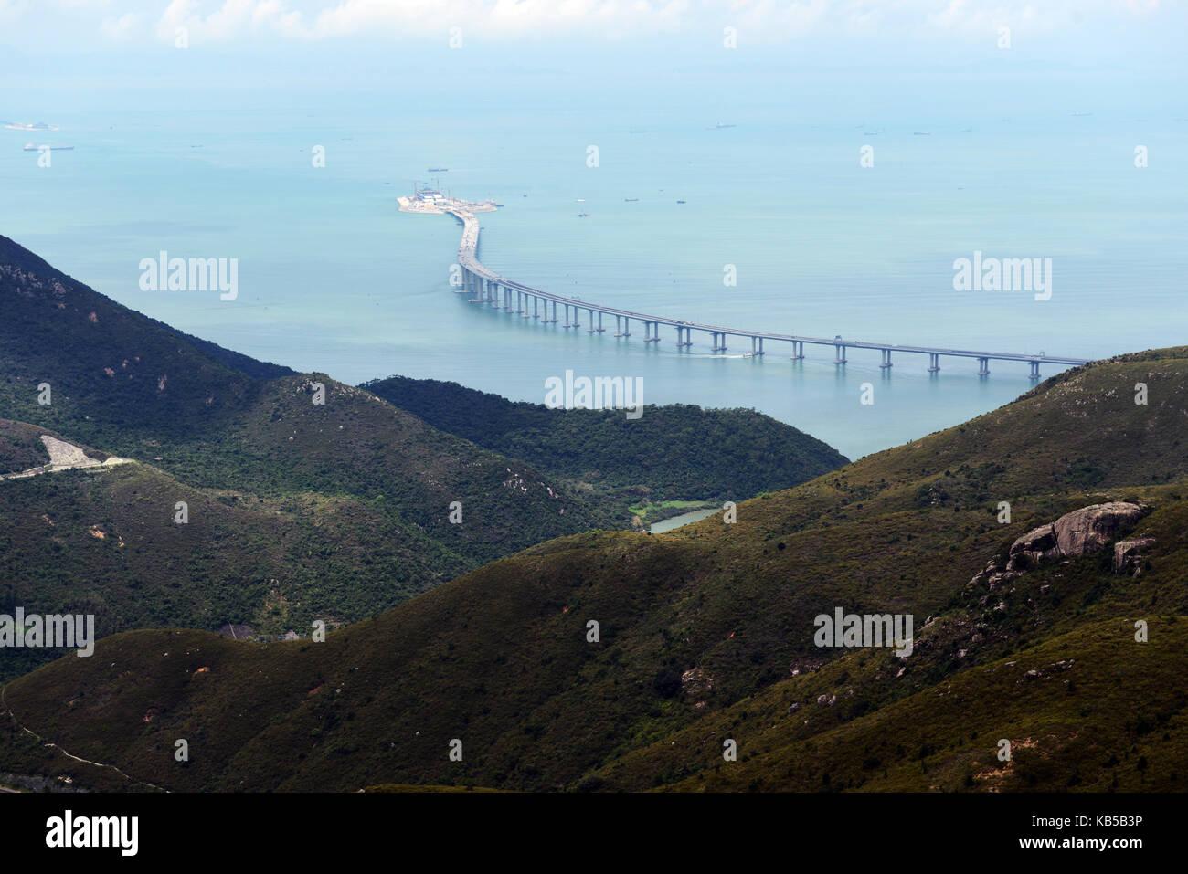 Aerial view of the new Hong Kong–Zhuhai–Macau Bridge construction site. - Stock Image