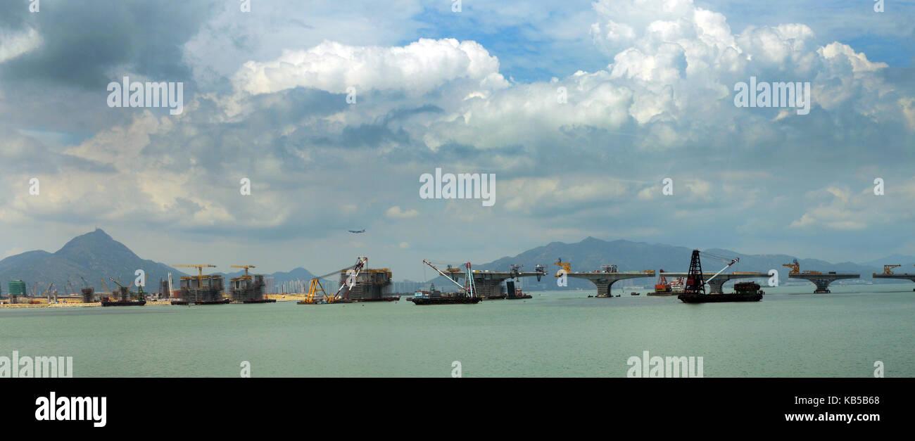 The new Hong Kong–Zhuhai–Macau Bridge construction site. - Stock Image