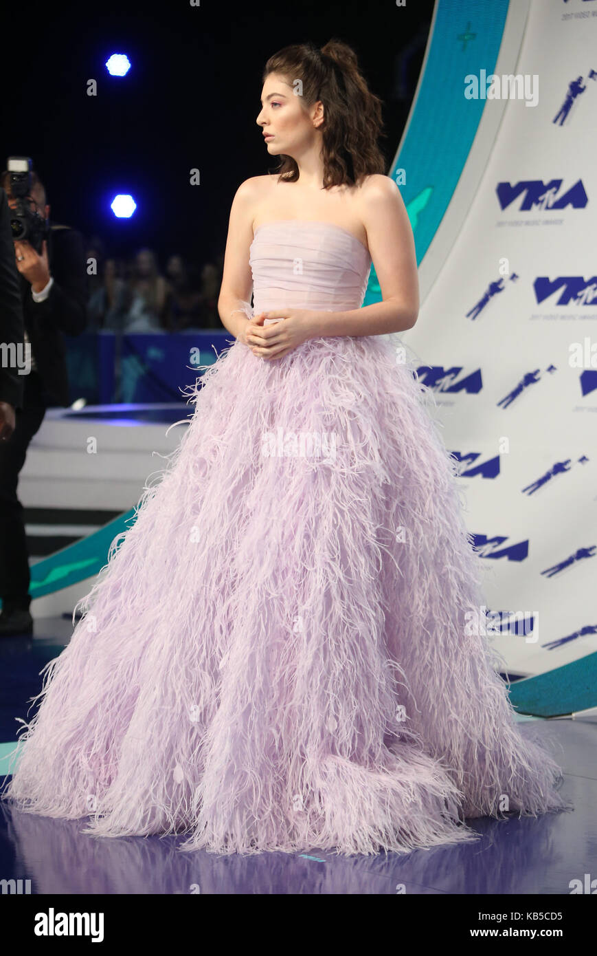 Pastel Lilac Ball Gown Feather Strapless Dress Stock Photos & Pastel ...