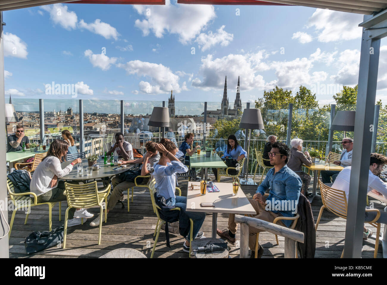 Mama shelter Design  Hotel, designed by Philipp Starck, sky bar, rooftop,  Bordeaux, France - Stock Image