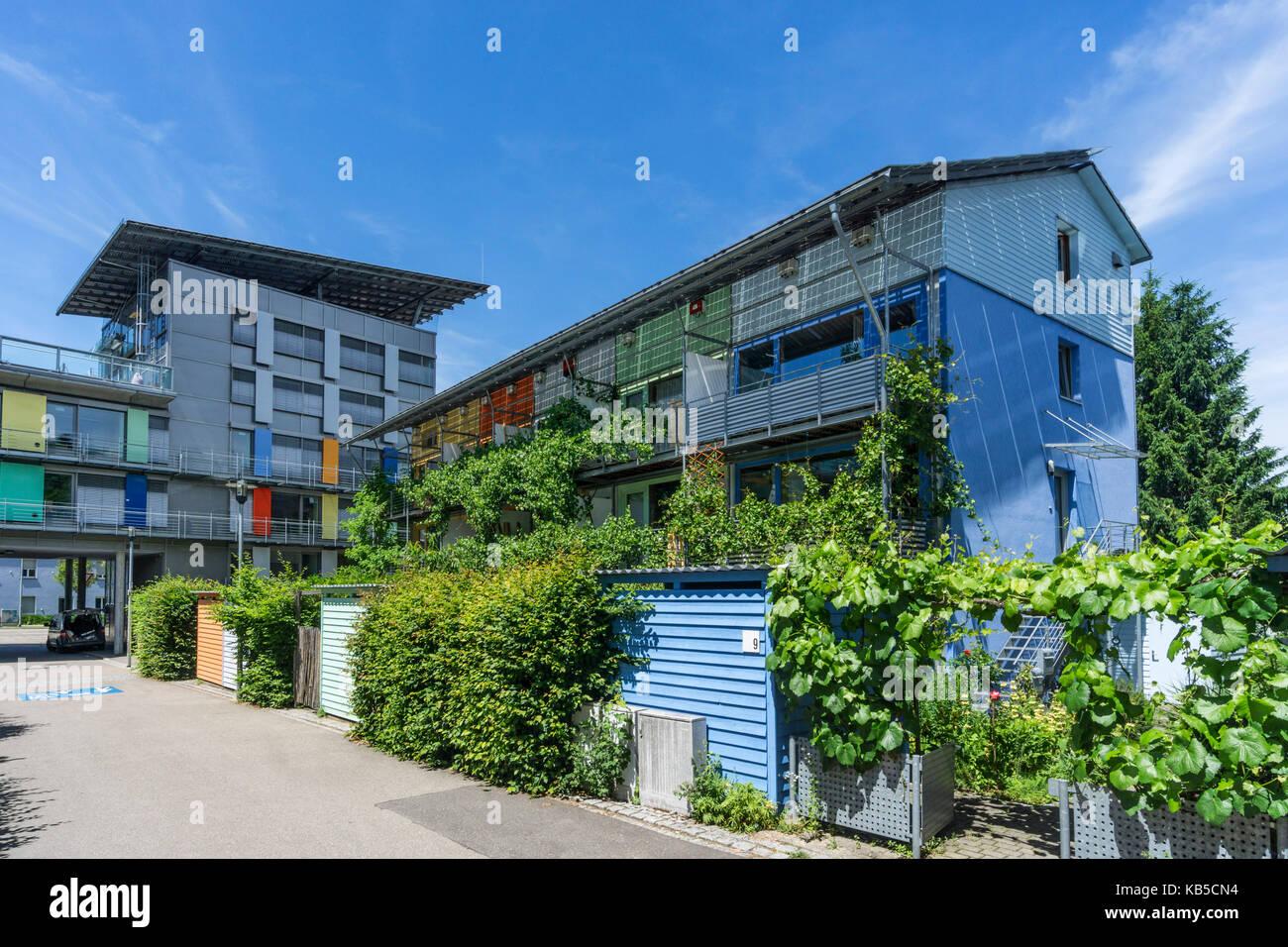 solar community, Vauban, Freiburg, Baden-Wuerttemberg, Germany, Europe - Stock Image