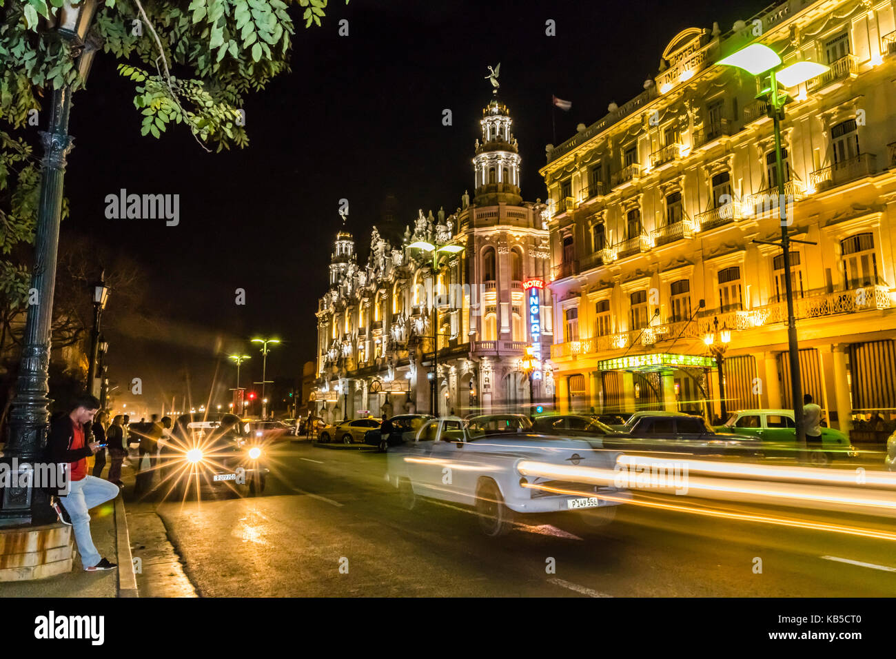 Cityscape view of the Hotel Inglaterra taken at night, taken from the Prado in old Havana, Cuba, West Indies, Central - Stock Image