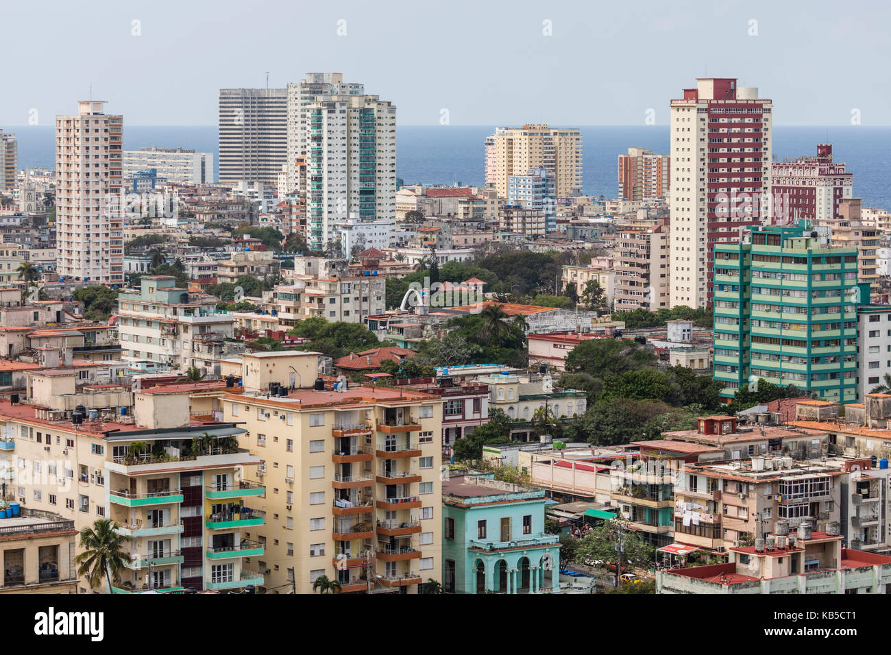 Cityscape view looking west of the town of Vedado, taken from the roof of the Hotel Nacional, Havana, Cuba, Central - Stock Image