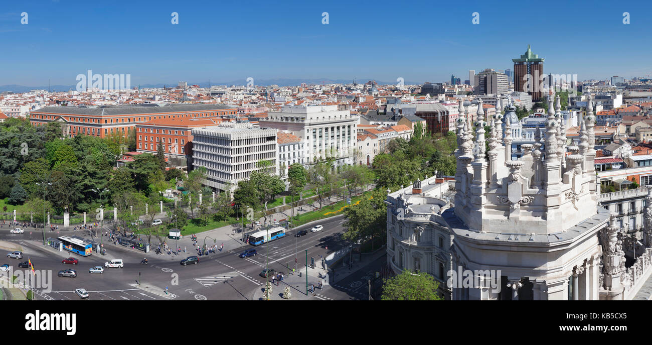 View from Palacio de Comunicaciones over Plaza de la Cibeles square at Madrid, Spain, Europe - Stock Image