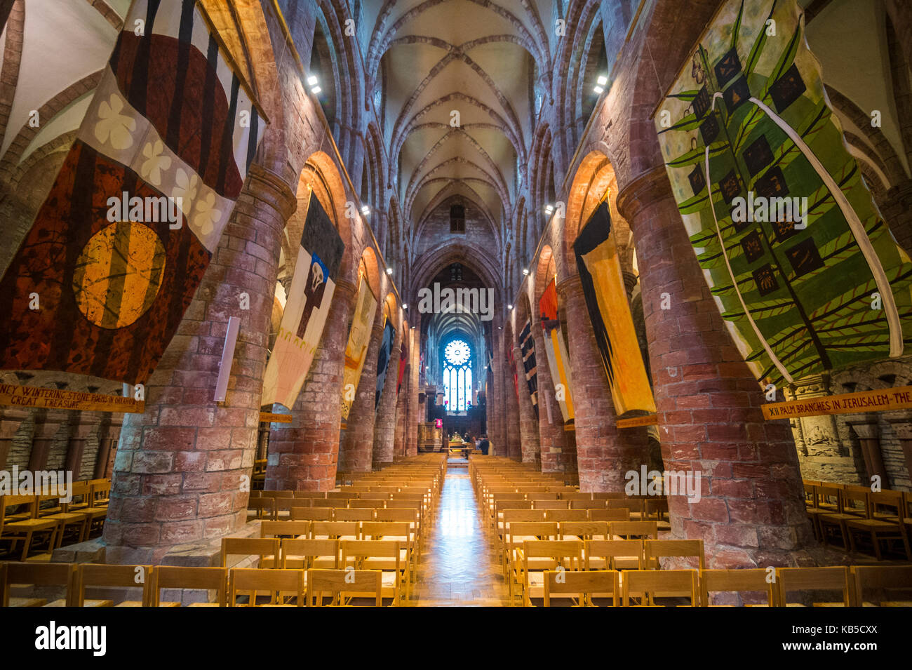 Interior of the St. Magnus Cathedral, Kirkwall, Orkney Islands, Scotland, United Kingdom, Europe - Stock Image