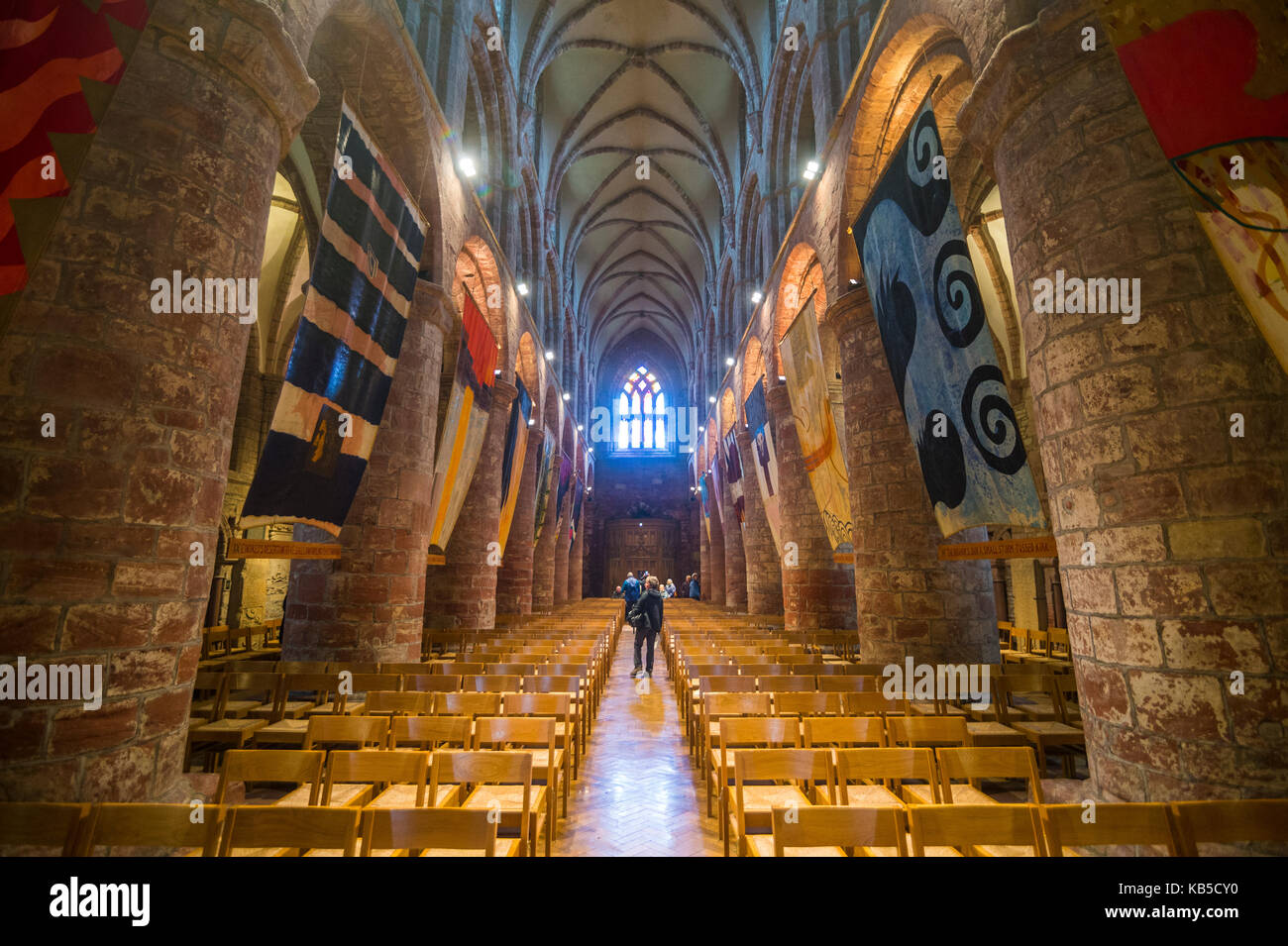 Interior of St. Magnus Cathedral, Kirkwall, Orkney Islands, Scotland, United Kingdom, Europe - Stock Image