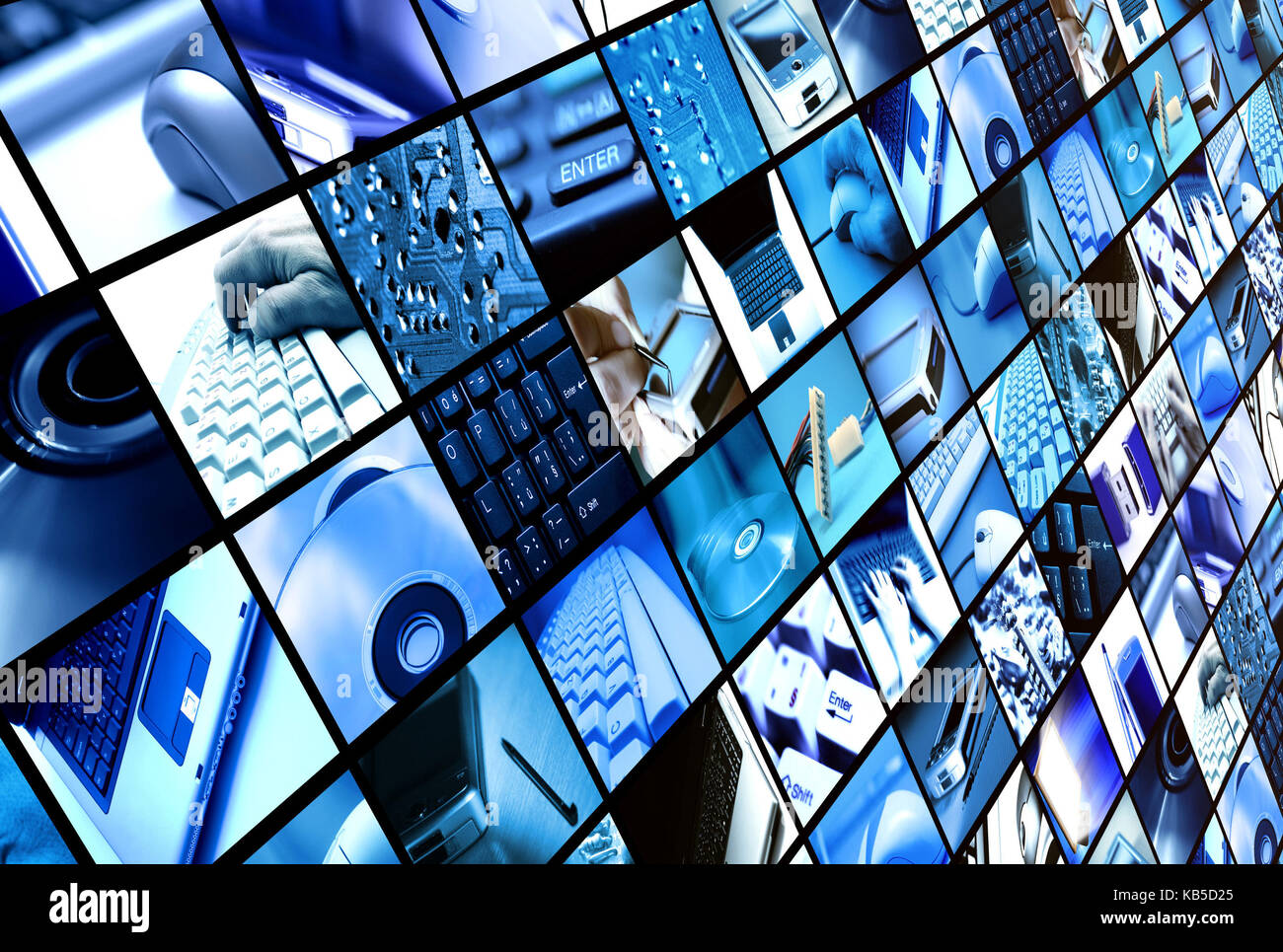 many screens with technology related objects - Stock Image