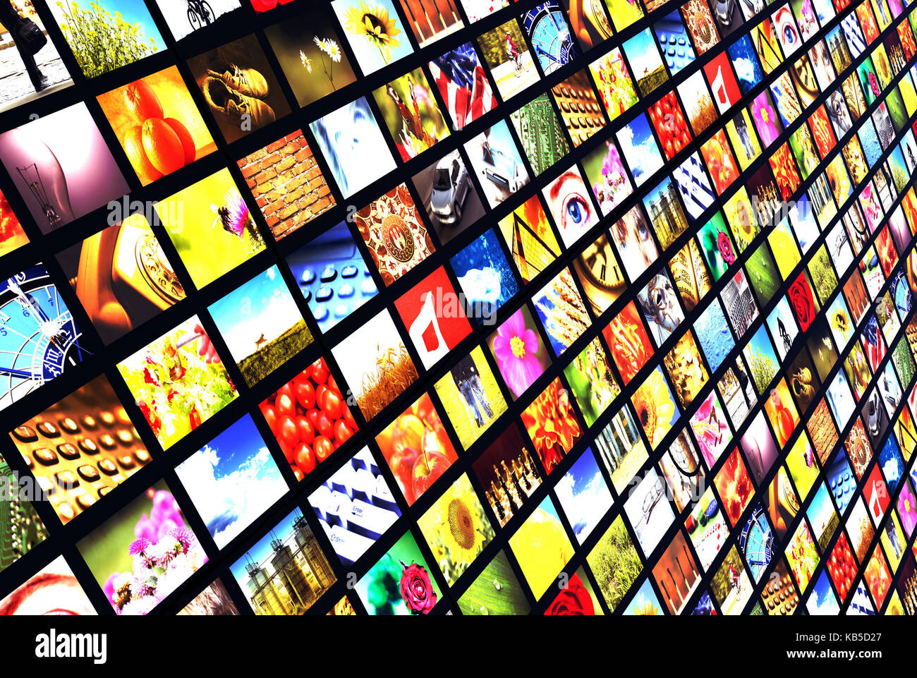 panels with many images, digital television, new media and broadcasting concept - Stock Image