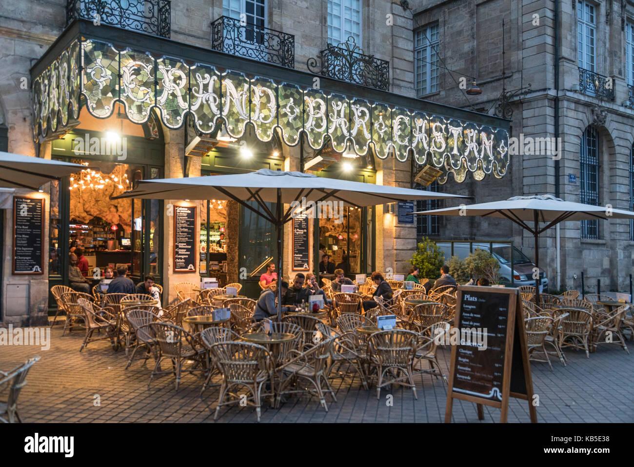 Quai de la Douane, Grand Bar Castan, street Cafe, Bordeaux, France - Stock Image