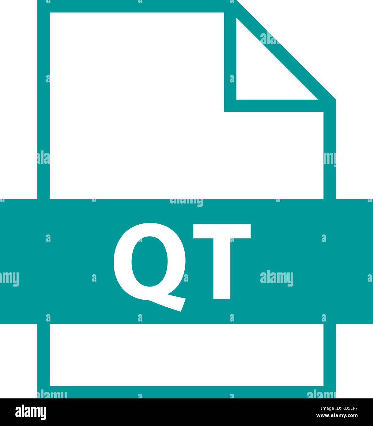 Use it in all your designs. Filename extension icon QT QuickTime File Format in flat style. Quick and easy recolorable - Stock Image