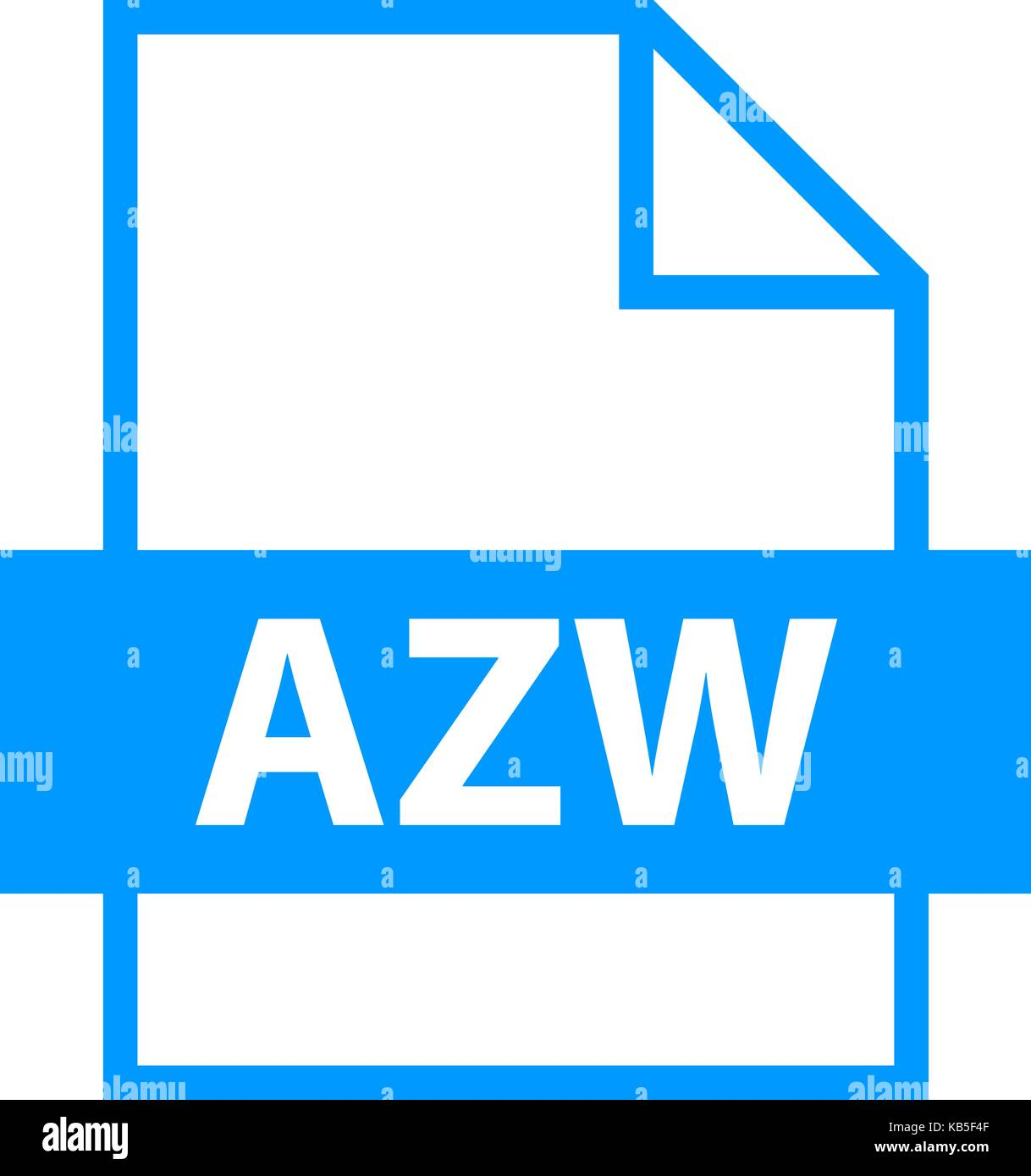 Use it in all your designs. Filename extension icon AZW Amazon Word in flat style. Quick and easy recolorable shape. - Stock Image