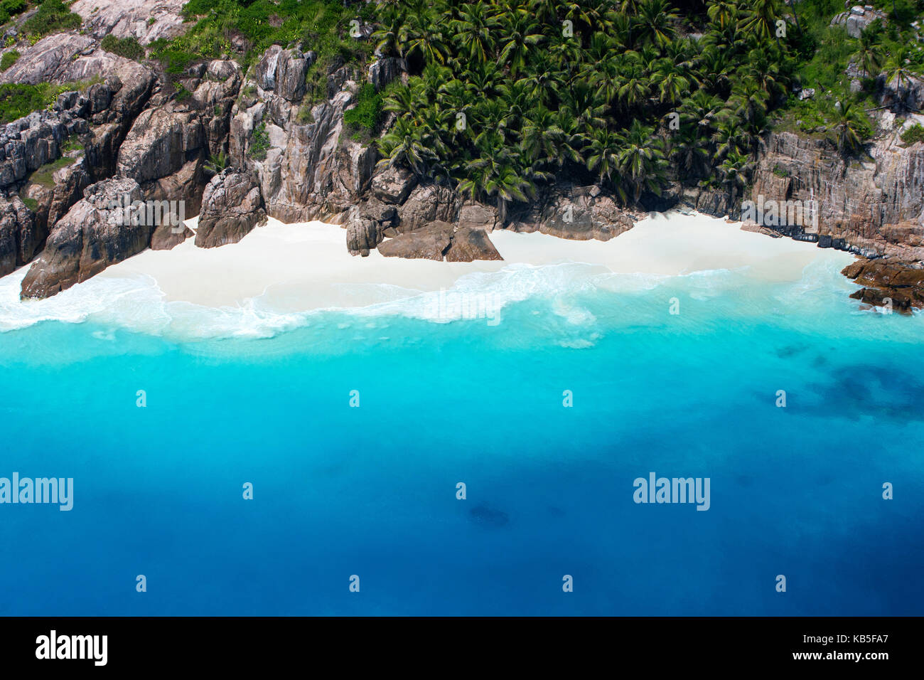 Aerial view of tropical beach, Seychelles, Indian Ocean, Africa - Stock Image
