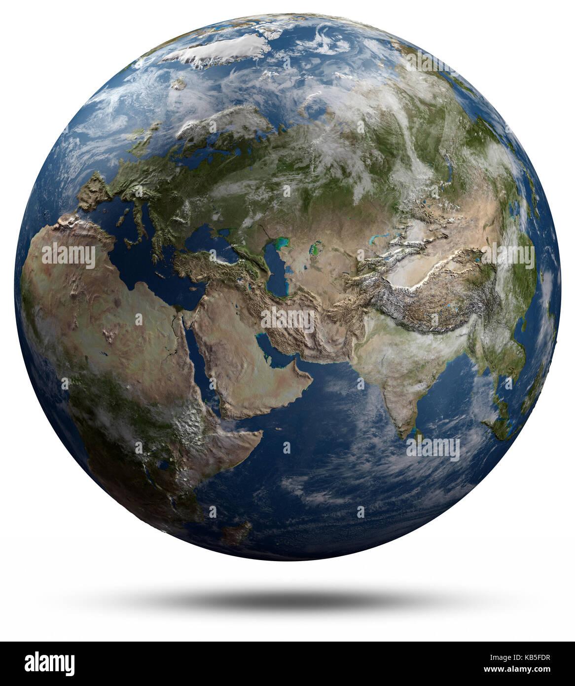 Earth globe - Eurasia 3d rendering - Stock Image
