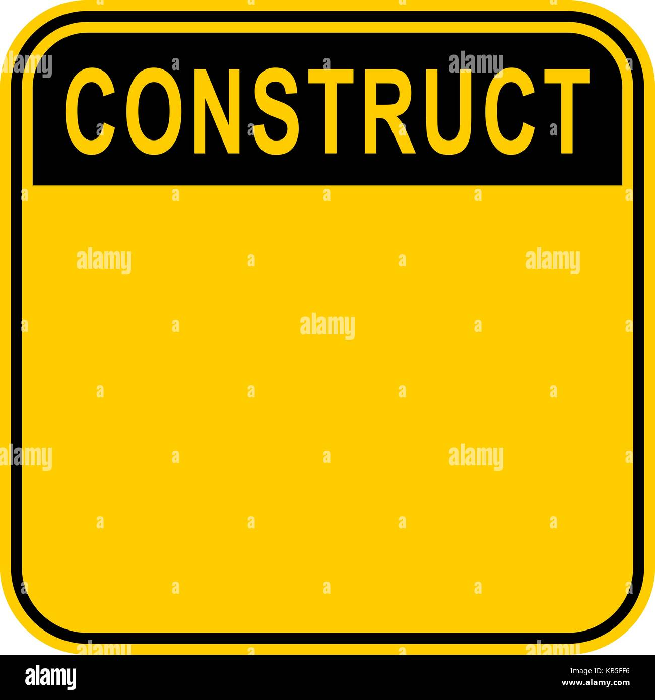 Use it in all your designs. Empty safety sign board with word Construct. Sticker square-shaped painted in black - Stock Image
