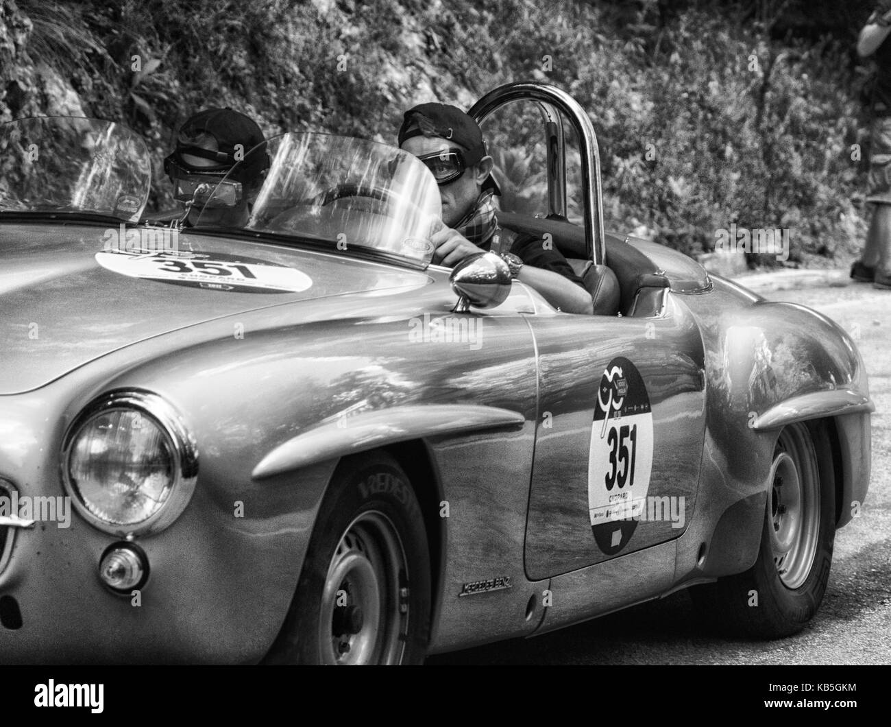 MERCEDES-BENZ 190 SL 1955 on an old racing car in rally Mille Miglia ...