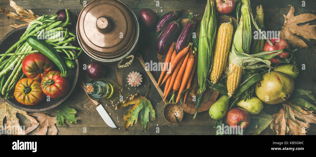 Fall healthy cooking background, wide composition - Stock Image